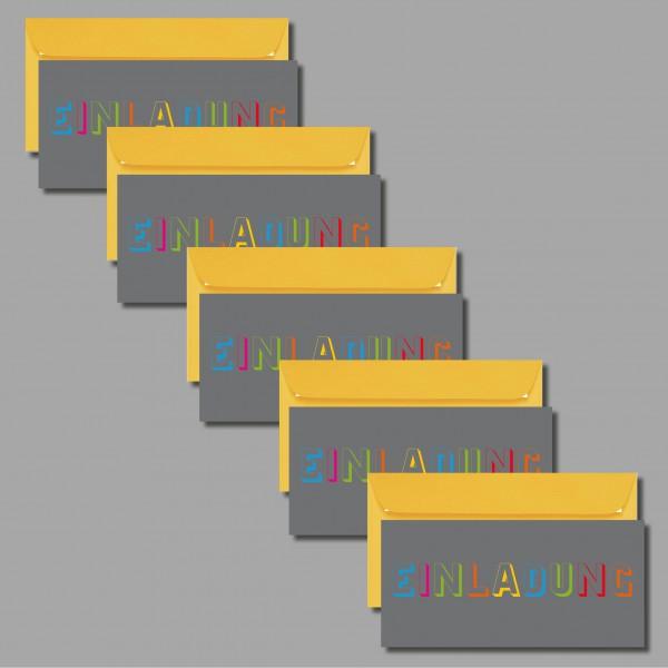"""COOL: 5 Einladungskarten """"Einladung auf grau"""" inkl. Kuvert (5 Stück)"""