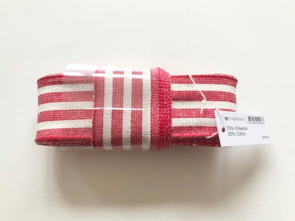 GESCHENKBAND rot-weiß gestreift 4 cm breitt von artoz