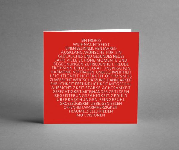 INSPIRATIV: Weihnachtskarte Weihnachtsbaumkugel als Text rot mit Lack veredelt